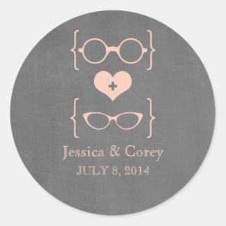 Pegatinas Geeky del boda de la pizarra de los Etiqueta Redonda