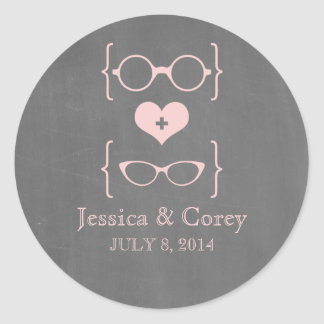 Pegatinas Geeky rosados del boda de la pizarra de Etiquetas Redondas