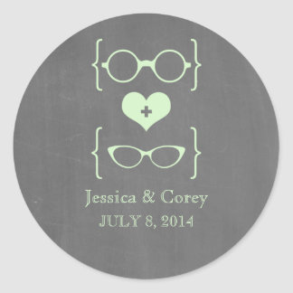Pegatinas Geeky verdes del boda de la pizarra de Etiqueta Redonda