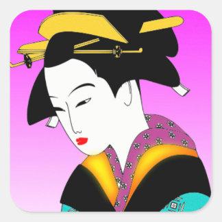 Pegatinas - geisha colorido pegatina cuadrada