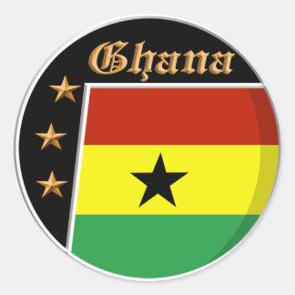 Pegatinas ghaneses de la bandera etiqueta redonda