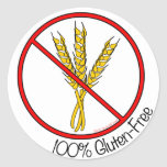 "Pegatinas Gluten-Libres del ""100%"" (grandes) Etiqueta Redonda"