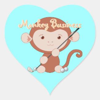 Pegatinas Golfing del corazón del mono Pegatina En Forma De Corazón