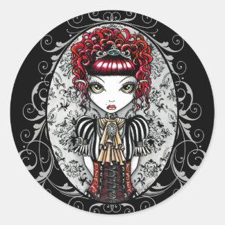 Pegatinas góticos de Fae del Victorian de Annie Pegatina Redonda