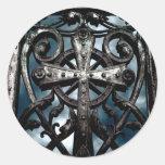 Pegatinas góticos de la cruz céltica del hierro la etiquetas redondas