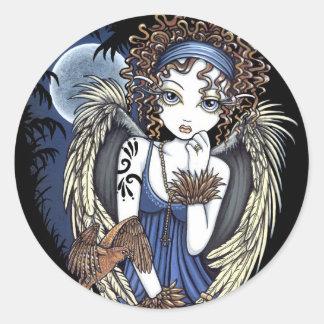 Pegatinas góticos del arte del ángel del pájaro pegatina redonda