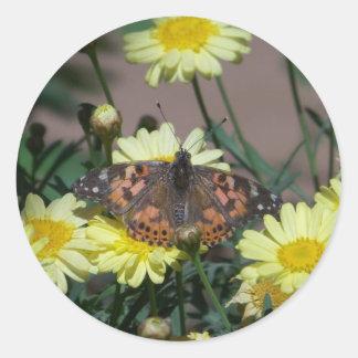 pegatinas grandes con la mariposa y las flores pegatina redonda