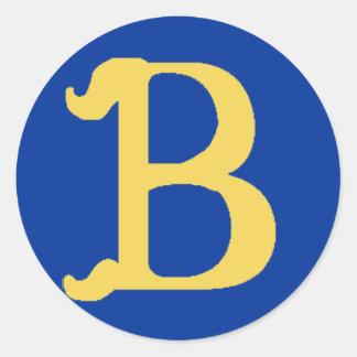 Pegatinas grandes cones monograma con la letra B Etiqueta Redonda