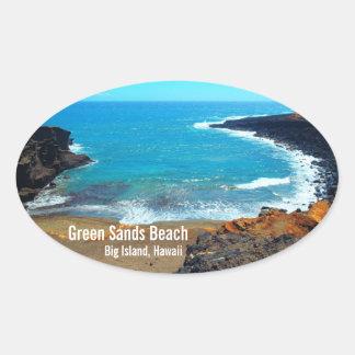 Pegatinas grandes de Hawaii de la isla de la playa Pegatina Ovalada