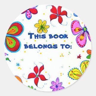 Pegatinas grandes de la identificación del libro pegatina redonda