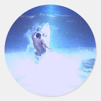 Pegatinas grandes de las ondas que practican surf pegatina redonda