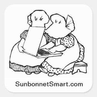 Pegatinas grandes de Sunbonnet Smart de 3 pulgadas Pegatinas Cuadradases Personalizadas