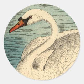 Pegatinas grandes del cisne etiqueta redonda
