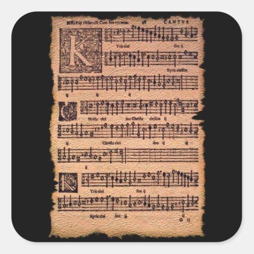 Pegatinas gregorianos de la partitura del canto pegatina cuadrada