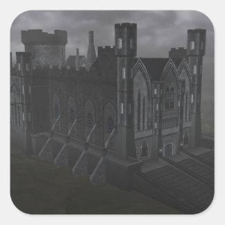 Pegatinas grises del castillo pegatina cuadrada