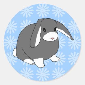Pegatinas grises del conejo del Lop Etiqueta Redonda