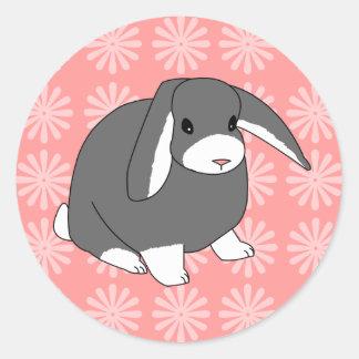 Pegatinas grises del conejo del Lop Etiquetas Redondas