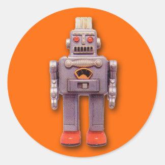 Pegatinas grises del robot del juguete (hoja de 6) pegatina redonda