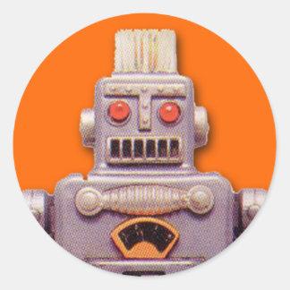 Pegatinas grises del robot del juguete (hoja de pegatina redonda