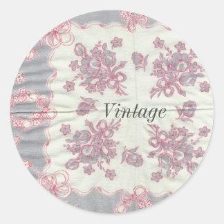 Pegatinas grises y rosados del vintage del pañuelo pegatina redonda