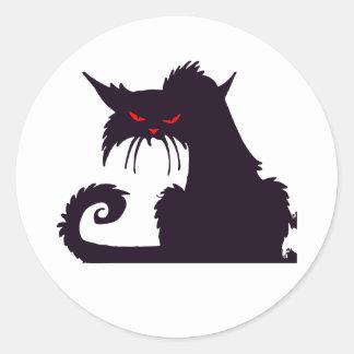 Pegatinas gruñones del gato negro pegatinas redondas