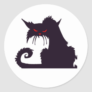 Pegatinas gruñones del gato negro pegatina redonda