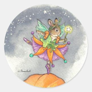 Pegatinas Halloween del conejito de la bailarina Etiquetas Redondas