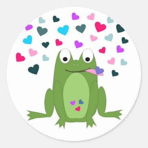 Pegatinas hambrientos de la rana del amor etiqueta redonda