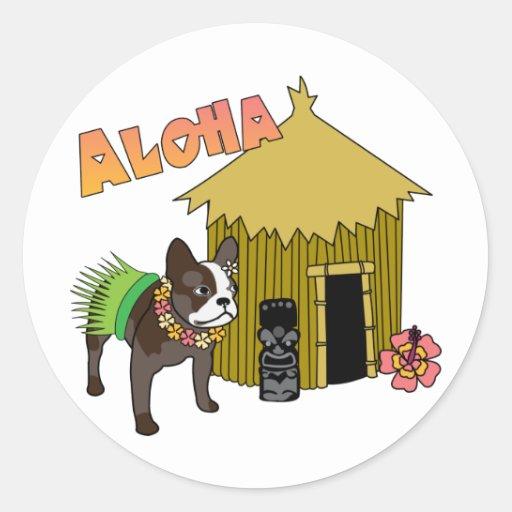 Pegatinas hawaianos de Tiki Hula del dogo francés Pegatina Redonda