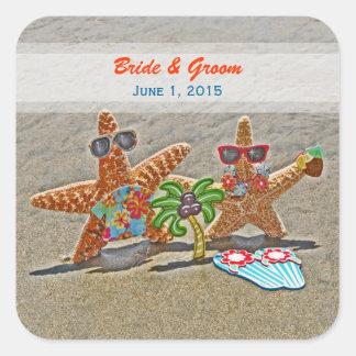 Pegatinas hawaianos del boda de los pares de las calcomania cuadrada personalizada