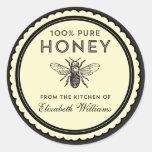 Pegatinas hechos en casa de la miel del vintage