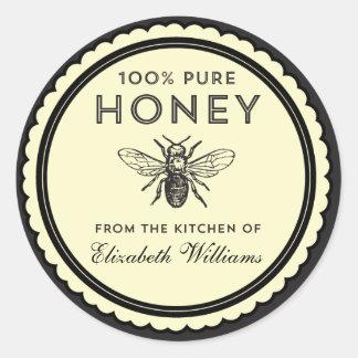 Pegatinas hechos en casa de la miel del vintage pegatinas redondas