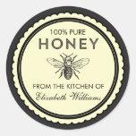 Pegatinas hechos en casa de la miel del vintage pegatina redonda