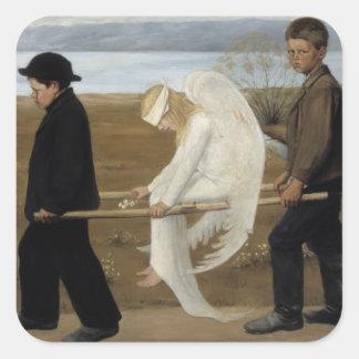 Pegatinas heridos del ángel de Simberg Pegatina Cuadrada