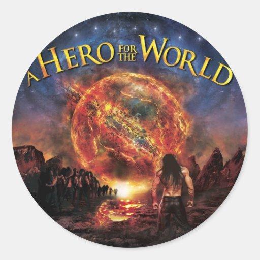 Pegatinas - héroe para el mundo pegatina redonda