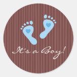 Pegatinas: ¡Huellas azules del bebé - es un Etiquetas Redondas