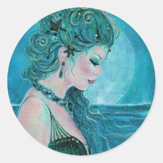 Pegatinas iluminados por la luna de la sirena de pegatina redonda