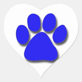 Pegatinas - impresión azul de la pata pegatina en forma de corazón