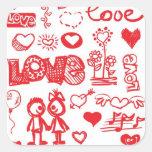 Pegatinas incompletos del amor calcomanía cuadradas personalizada