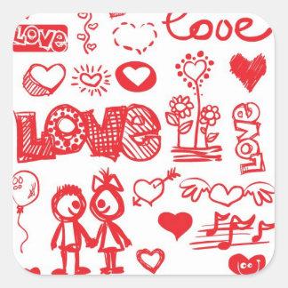 Pegatinas incompletos del amor pegatina cuadrada