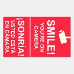 Pegatinas ingleses- bilingües de la cámara de pegatina rectangular