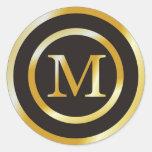 Pegatinas iniciales del boda del monograma del oro