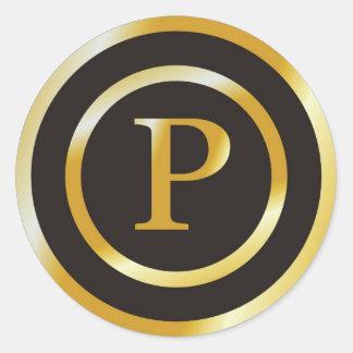 Pegatinas iniciales del boda del monograma del oro pegatina redonda