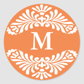 Pegatinas iniciales del monograma:: Color de rosa Pegatina Redonda