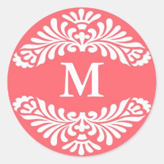 Pegatinas iniciales del monograma:: Rosa de Etiqueta Redonda