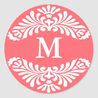 Pegatinas iniciales del monograma:: Rosa de Pegatina Redonda