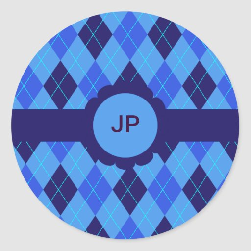 Pegatinas iniciales personalizados argyle azul de pegatina redonda