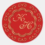 Pegatinas inspirados indios del monograma en rojo