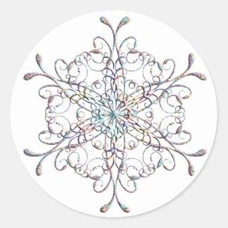 Pegatinas iridiscentes del copo de nieve pegatina redonda