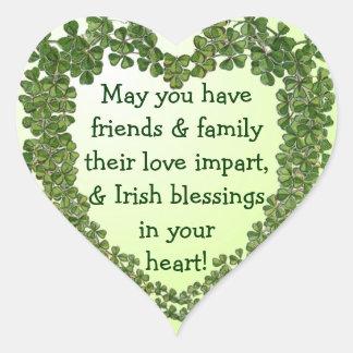 Pegatinas irlandeses del corazón de la bendición pegatina en forma de corazón